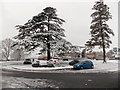 ST2991 : Snowy south side of Oliphant Circle roundabout, Malpas, Newport by Jaggery