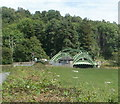 SO3405 : A distant view of Chain Bridge, Monmouthshire by Jaggery