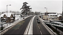ST3091 : A wintry view north from a Malpas Road footbridge, Newport by Jaggery