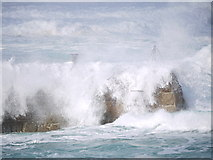 SW3526 : Waves crashing over the jetty at Sennen cove by sue hogben