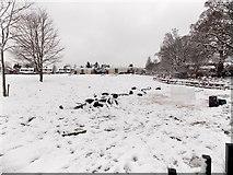 ST3091 : Snowy field, Malpas Park Primary School, Newport by Jaggery