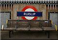 TQ0987 : London Underground roundel, Ruislip by Julian Osley