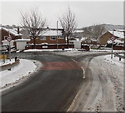 ST3091 : Wintry junction of Almond Drive and Claremont, Malpas, Newport by Jaggery