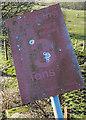 NT3760 : A railway bridge warning sign at Borthwick Bank by Walter Baxter