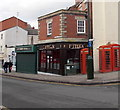 SO8505 : Three red phoneboxes and Fifteen, Stroud by Jaggery