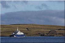 HU4841 : MV Leirna crossing Bressay Sound by Mike Pennington