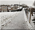 ST3091 : An icy approach to a Pilton Vale footbridge, Malpas, Newport by Jaggery