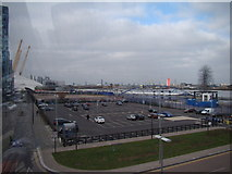 TQ3979 : View of the Emirates Air Line car park from the Emirates Air Line by Robert Lamb