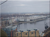 TQ3980 : View of the Excel Exhibition Centre from the Emirates Air Line by Robert Lamb