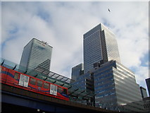 TQ3780 : View of the HSBC Building and One Canada Square from West India Quay by Robert Lamb