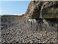 SY9079 : Kimmeridge: a dolomite stripe runs up the cliff by Chris Downer