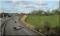 SP1471 : M42 junction 3a east: M40 southeast of junction, with obelisk by Robin Stott