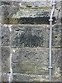 SE5670 : Bench mark with bolt, St Cuthbert's Church, Crayke by Pauline E
