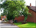 SO8090 : Tree and bench in car park of Holy Cross Church, Bobbington by P L Chadwick
