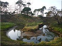 NT6378 : East Lothian Geomorphology : Old Pipe Meander On The Hedderwick Burn by Richard West
