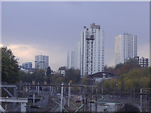 TQ2784 : Tower blocks and railway lines, Primrose Hill by David Howard