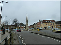SP4540 : Approaching Banbury Cross from the High Street by Basher Eyre