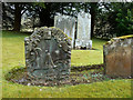 NS3408 : The Waulk Miller's Stone in Kirkmichael Churchyard by Mary and Angus Hogg