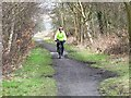 NZ1845 : Cyclist on the Lanchester Valley Railway Path by Oliver Dixon