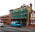 ST1268 : Scaffolding on the front of the old fire station, Barry by Jaggery