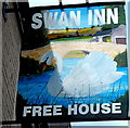SS8983 : Swan Inn name sign, Aberkenfig by Jaggery