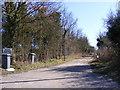 TM4669 : Entrance to Mount Pleasant Farm & footpath to Dunwich Heath by Adrian Cable