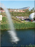 TQ3785 : Stratford: waterfall at the top end of the Olympic Park by Chris Downer