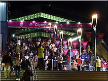 TQ3884 : Stratford: Paralympic crowds leave Westfield by Chris Downer