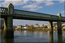 TQ1977 : Kew railway bridge, from the water by Christopher Hilton