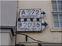 TQ3024 : Pre-Worboys direction signs, Cuckfield High Street by David Howard