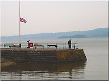 SD4578 : High tide and half-mast, Arnside Pier by Karl and Ali