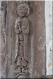 SO4430 : Chancel arch figure (middle right), Kilpeck Church by Bob Embleton
