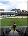 TQ2682 : Lord's: rolling up the covers by John Sutton