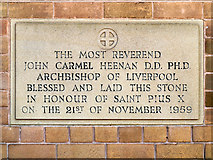 SJ5187 : Foundation Stone, St Pius X Roman Catholic Church by David Dixon