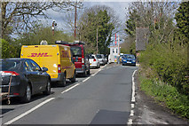 SJ6989 : The toll gate for Warburton Bridge doing roaring business by Ian Greig