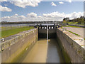 SJ5184 : Sankey Canal, Lock at Spike Island by David Dixon