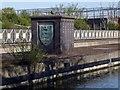 TQ1983 : Coat of arms, North Circular Road Aqueduct by Julian Osley