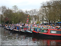 TQ2681 : View of narrowboats moored up at Little Venice for the Canal Cavalcade #3 by Robert Lamb