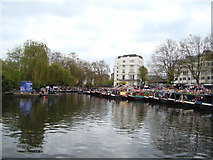 TQ2681 : View of narrowboats moored up at Little Venice for the Canal Cavalcade #7 by Robert Lamb