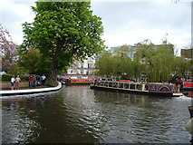 TQ2681 : View of Gardenia drifting into Little Venice from the Grand Union Canal towpath by Robert Lamb