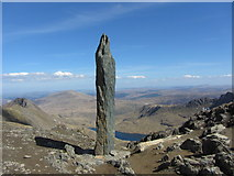SH6054 : Path junction marker on Snowdon by Gareth James