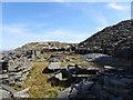 SH6745 : Ruined buildings at Wrysgan Quarry by Gareth James