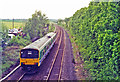 SP4695 : Site of Elmesthorpe station with train, 1995 by Ben Brooksbank