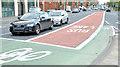 J3473 : Bus lane, East Bridge Street, Belfast (1) by Albert Bridge