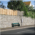 SX9473 : Limestone-faced retaining wall, Dawlish Road, Teignmouth by Robin Stott