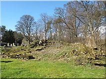 NY9449 : (Remains of) pele tower in the grounds of St. James's Church, Hunstanworth (2) by Mike Quinn