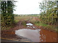 ST6378 : Large muddy puddle at a field entrance, Frenchay by Jaggery