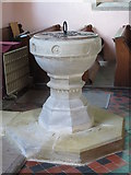 NY9449 : St. James's Church, Hunstanworth - font by Mike Quinn