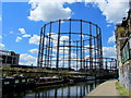 TQ3483 : Gasometers at Bethnal Green by Chris Heaton