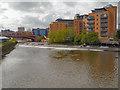 SE3033 : River Aire, Weir Near Crown Point by David Dixon